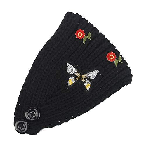 TOPGKD beliebt Frauen-strickendes Stirnband handgemacht halten warmes HairbandIns umsatzstark (Schwarz) (Medaillons In Haar Zu Halten)