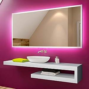 Artforma Badspiegel 80x60cm mit LED Beleuchtung | Wählen Sie Zubehör - Bad Licht Spiegel Individuell Nach Maß | Beleuchtet Wandspiegel Lichtspiegel Badezimmerspiegel | Energiesparend A++ L01