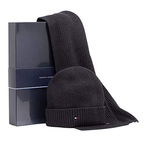 Preisvergleich Produktbild Tommy Hilfiger Pima Cotton Cashmere Scarf & Beanie Giftpack,  schwarz (BLACK)