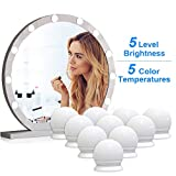 VIPMOON® Vanity Mirror Lights, 5m USB Cable Hollywood Mirror Lights, 5 Lights Modes 3200K-6500K, 10 Dimmable Bulbs LED Makeup Light Adjustable 5 Brightness Modes [Energy Class A+]