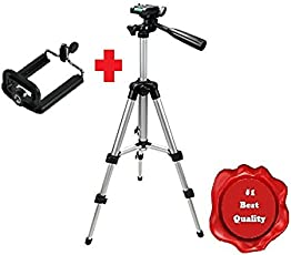 Erry Premium 105 cm Tripod With Carry Bag For Digital SLR & Video Cameras (Load Capacity 3000 Grams) With Phone Mount