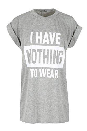 OOPS OUTLET Womens Aufgerollter Ärmel T-Shirt Damen ICH HABE NOTHING TO KLEIDUNG Aufdruck Neuheit Oberteil Grau