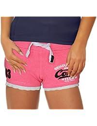 0ce3ead0662b M.Conte Damen Jersey-Shorts Basic Skinni Fit Sport-Shorts Training Retro-Shorts  kurze Damen-Hose Pants Jogginghose Sporthose Blau…