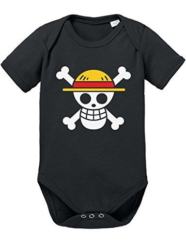 (Ruffy Straw Hat Logo Baby Strampler Body Luffy Ruffy One Monkey Anime Piece Zoro, Farbe:Schwarz;Größe:80)