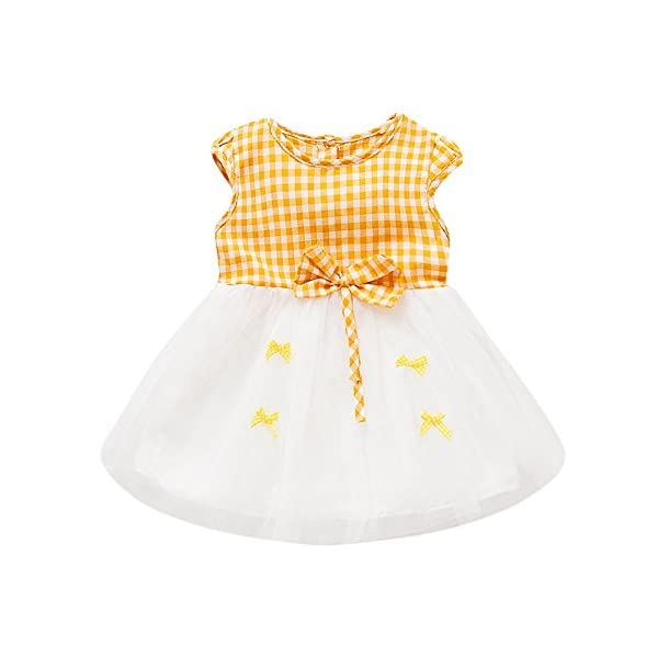 Trisee Recién Nacido Bebé Niñas bebés Rejillas Bowknot Hilado Neto Ropa de Vestir Informal Bebé Ropa recién Nacida 0 a… 4