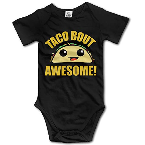 TKMSH Taco Bout Awesome Newborn Babys Short Sleeve Jumpsuit Outfits Black 3M