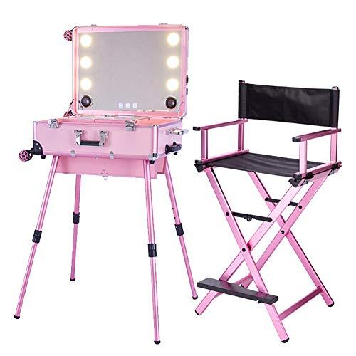 Kosmetikkoffer Trolley Kosmetikkoffer Reisekoffer Studio Folding Makeup Table Kosmetikerin mit 6 Glühbirnen Folding Director Chair,Rosa - 6-lampe-eitelkeit Licht