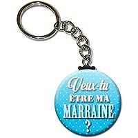 Veux tu être ma MARRAINE Porte clés chaînette 38mm ( Idée Cadeau Marraine Baptême Communion Noël Anniversaire )