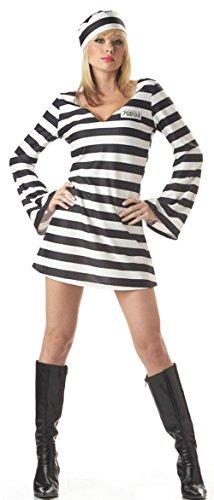 Häftling Aimerfeel Damen Black & White Stripes Robber, gefangener Abendkleid mit Hut. Größe L (Weiblich Sträfling Kostüme)