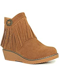 Xti KIDS 53989 - Botín niña adolescente camel flecos