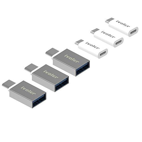 iVoler [6 in 1 Pack] USB C Adapter, [3 Stück] USB C auf Micro USB Adapter + [3 Stück] USB C Adapter auf USB A 3.0 OTG Konverter für Type-C Unterstützte Geräte - Weiß Oem Lg Micro-usb
