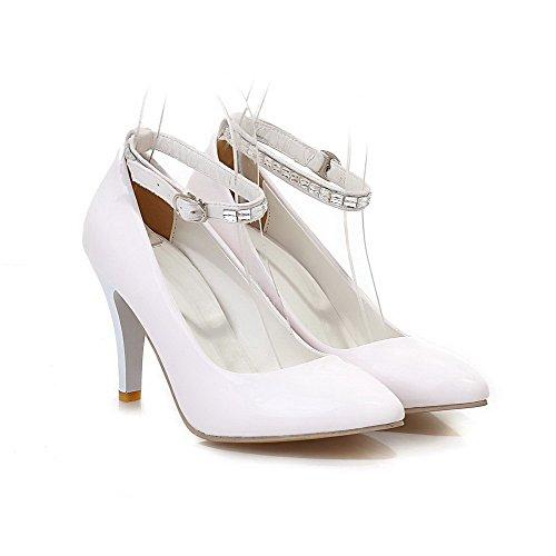 VogueZone009 Damen Pu Leder Rein Schnalle Spitz Zehe Hoher Absatz Pumps Schuhe Weiß