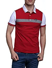 Emporio Armani EA7 t-shirt manches courtes col polo homme rouge