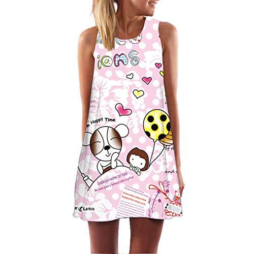 XuxMim Damen Sommerkleid Casual Chiffon Taste Kurzarm Krawatte Taille Polka Dot Einfarbig Strand Mini Shirt Kleid(Rosa,X-Large)