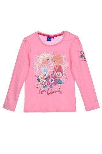 Disney Frozen - Die Eiskönigin Kinder Longsleeve T-Shirt Langarm Top (1004) Langarmshirt Oberteil für Mädchen mit ELSA und Anna Motiven, rosa, Gr. 128