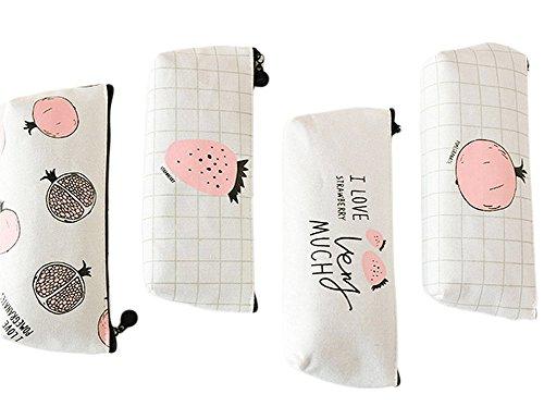 cosanter 4Bleistift Tasche Faux Leder/Canvas Sweet fruits Muster Make-up Gläser Tasche für Mädchen 20.5x8cm Canvas -