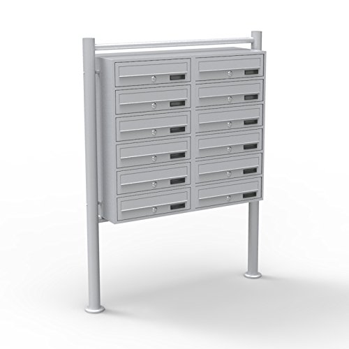 12er Briefkastenanlage Silber 2x6 Fächer Standbriefkasten Postfach Briefkasten Postkasten