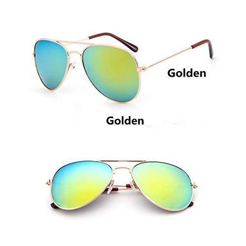 Vintage Sonnenbrillen, Fashion Kids Aviator Sunglasses Kids Boys Girls Classic Design Silver Frame Blue Lens Pilot Sun Glasses For Children golden frame golden ()