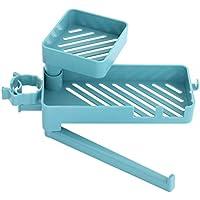 Hemoton Soporte Del Grifo Del Fregadero Estante de Drenaje Organizador Estante de Almacenamiento Grifo Del Fregadero de La Cocina Esponja Soporte Del Jabón Estante de Drenaje (Azul)