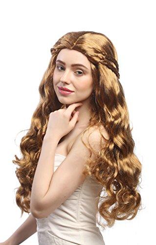-ZA27A Perücke Damen Sehr Lang Wellig Goldblond-Blond-Braun-Mix Aufwendig Geflochten Mittelscheitel Romantik Märchen Hippie (Geflochtene Perücken)