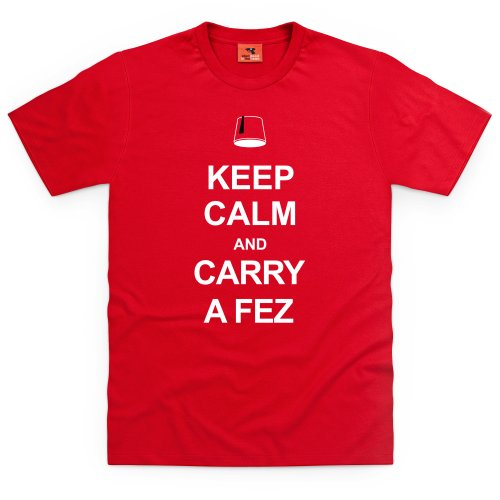 Keep Calm & Carry A Fez T-Shirt, Herren Rot