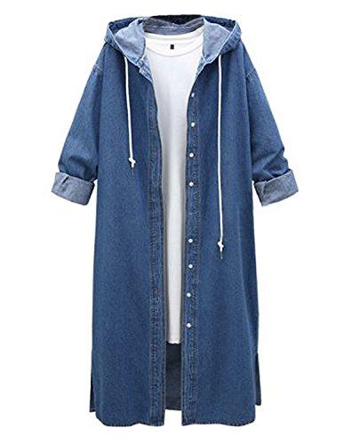 M-Queen Femmes Manteau de Jeans Demin Parka Manches Longues Trench Coat Veste en Jean Capuche Longue Outerwear pour Automne Hiver - Bleu - XXXX-Large