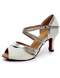 DE Damen Pfennig High Heels Latin Tango Tanzschuhe Ballsaal Dance Sandalen Schuh
