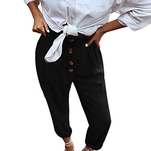 Zarupeng Damen Retro Freizeithose Hohe Taillen Einfarbig Bleistifthose Leggings mit Knopf und Elastische Taillen Crop Hosen Jogginghose - Crop Trainingshose