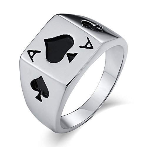 Epinki Stainless Steel for Men Wedding Bands Poker Ace Rectangle Silver Ring Size N 1/2