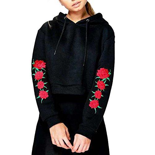 Dihope Femme Sweat à Capuche à Manches Longues Broderie Florale Sweat-shirt Chemisiers Casual Tops Pull pour Automne Hiver Noir