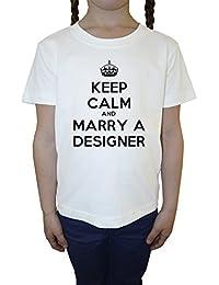 Keep Calm And Marry Designer Blanco Algodón Niña Niños Camiseta Manga Corta Cuello Redondo Mangas White Girls Kids T-shirt
