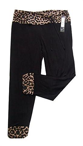 Black/Leopard Trim Size 14/16 Rockabilly 50's Leopard & Polka 3/4 Trim Cropped Stretchy Leggings