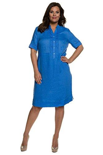 Ulla Popken Damen große Größen Leinenkleid 710003 Blau