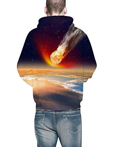 KamiraCoco 3D Druck Kapuzenpullover Herren Cartoon Sweatshirt Weihnachten Langarm Top Shirt Herbst Winter Drawstring Hoodie Pullover mit Kapuze Meteorit
