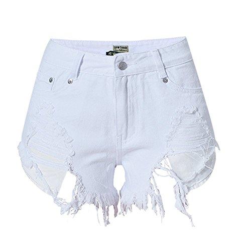 Preisvergleich Produktbild iRachel Damen Short Hotpants Demin Short kurze Hose Ripped Destroyed Loch Hose