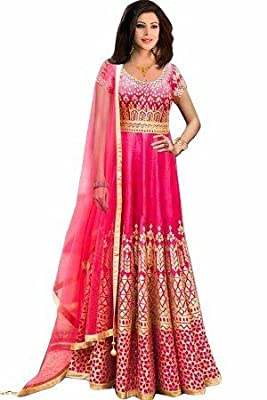 Semi-Stitched Bollywood Style Party Wear Anarkali Suit, Churidar Suit - Multi-color size : 2 meter, bottom size : 2 meter, dupatta size :2.25 meter