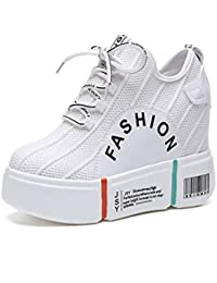 SIKESONG Nuevas Mujeres Calzado Casual De Altura Plataformas Crecientes Botines Mujer Moda Transpirable Malla Sneakers Blanca