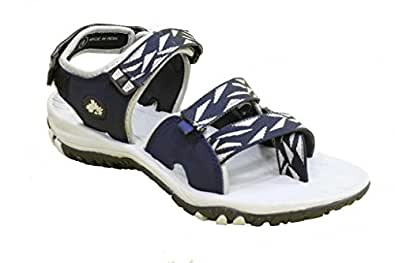 ABS Men's Grey and Blue Synthetic Sandals & Floaters (GSFOOTABSSAND-S105-GYBU-08) - 8