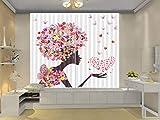 HONGYZCL Rosenkuß Digitaler Vorhang des Druckens 3D Passend Für Hauptschlafzimmerwohnzimmer,300Cm(W)×270Cm(H)