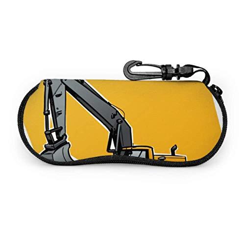 WDDHOME Gabelstapler, Kran, Bagger, Traktor, Bulldozer, LKW Herren Sonnenbrillenetui Brillenetui Leichter tragbarer Neopren-Reißverschluss Weicher Koffer Damen Brillenetui