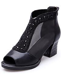 QIN&X Le donne del blocco punta breve medio stivali scarpe ,Beige,37