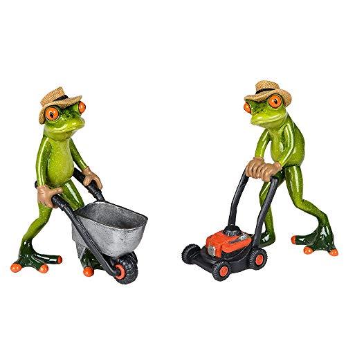 Formano Figuren Froschpaar mit Karre und Rasenmäher, Höhe ca. 17 cm, 2-Teiliges Set