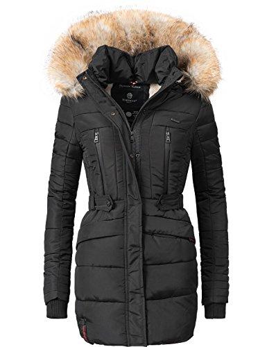 fake fell jacke Marikoo Damen Winter Mantel Steppmantel Nova (vegan hergestellt) Schwarz Gr. XL