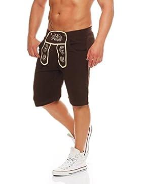 Gennadi Hoppe Herren Shorts im Trachten Stil Trachten Kurze Hose Short Lederhosenoptik