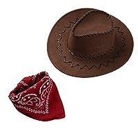 Freebily Kids Boys Girls Western Cowboy Hat Wide Brim Hat with Paisley Bandanna Halloween Fancy Dress Up Clothes Brown