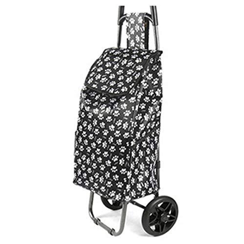 YGUOZ 2 de 1 Klappbar Reisenthel Trolley Einkaufswagen, Leichtem Einkaufshilfe mit 2 Räder, Noiseless Metall Großzügiger Stauraum (30L),Black Bottomed Ankle