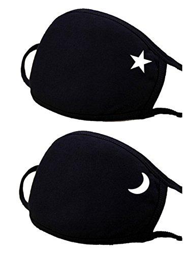 Haresle 2 Stück Masken Verdicken Baumwollmundmaske Anti Staub Mund Maske für Herren Damen (Stern und Mond)