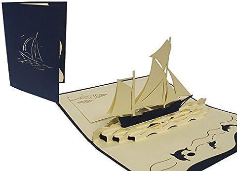 POP UP 3D Grußkarten, Grußkarten Boot Schiff,