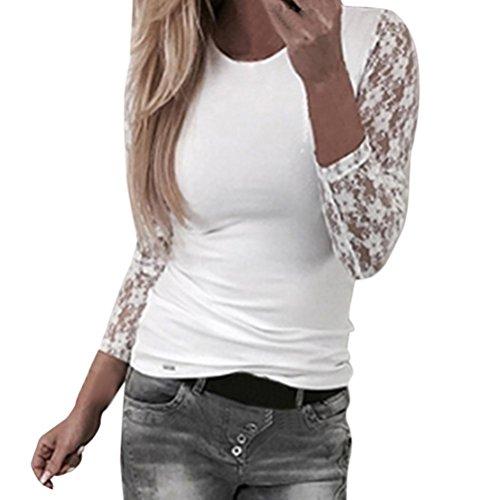Hevoiok Frauen Sexy Spitzennähte Langarmshirt Oberteile Neue Beliebte Mode Frühling Elegant Party Hemd Damen Casual Lace Hem Tunika Slim Tops Bluse (Weiß, M)