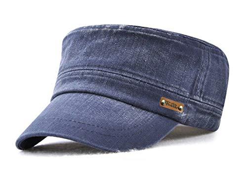 Herren Military Baseball Caps Vintage Flat Kappe Army Cap Cotton Mütze (Blau) Cotton Flat Cap